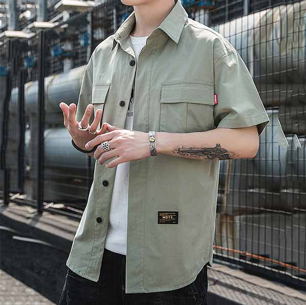 Casual Plus Pocket Short-sleeve Men's Cargo Shirt - KINGEOUS