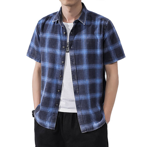 Casual Cotton Plaid Short Sleeve Men's Shirt - KINGEOUS