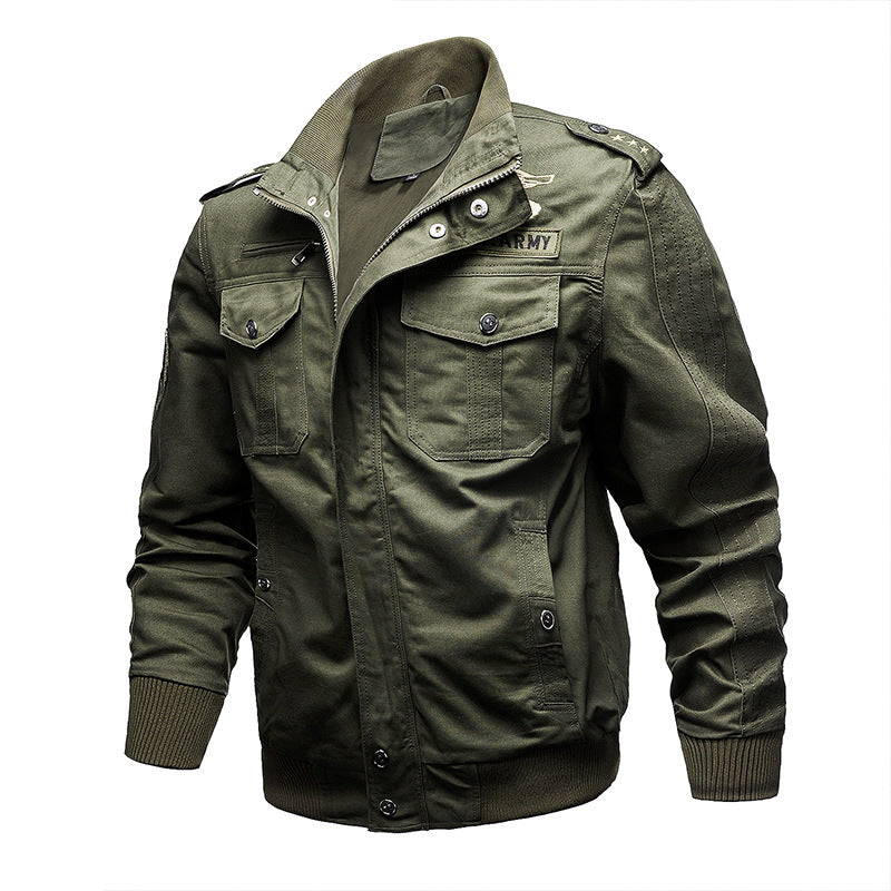 Plus Size Stand Collar Military Men's Jacket