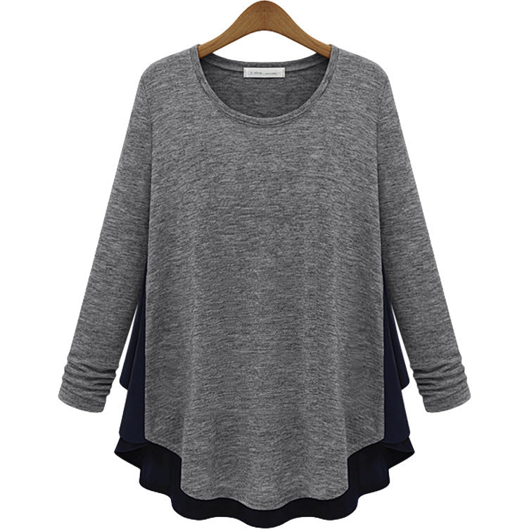 Round Neck Split Joint Long Sleeve Women's Blouse