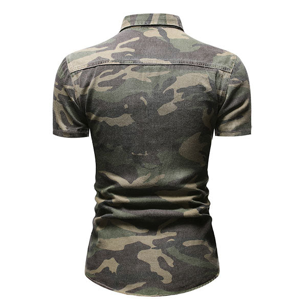 Lapel Camo Men's Short Sleeve Denim Shirt
