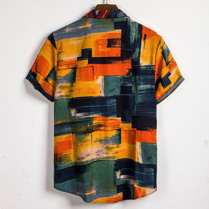 Colorful Printed Holiday Men Shirt - KINGEOUS