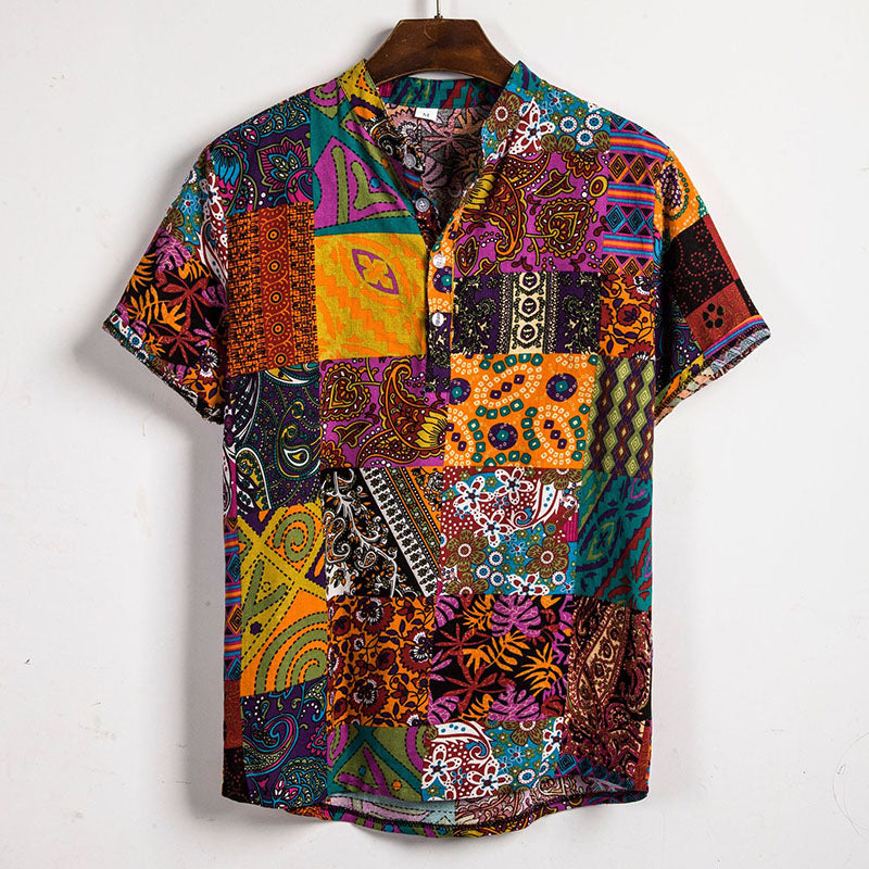 Charming Printed Split Joint Holiday Men Shirt - KINGEOUS