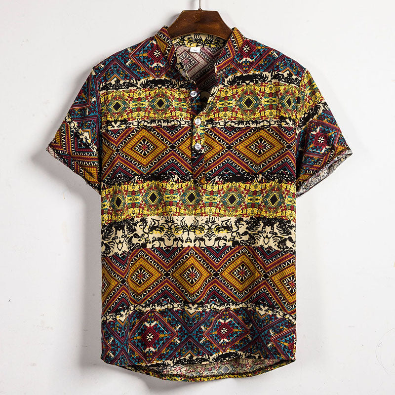 Unique Pattern Printed Holiday Men Blouse