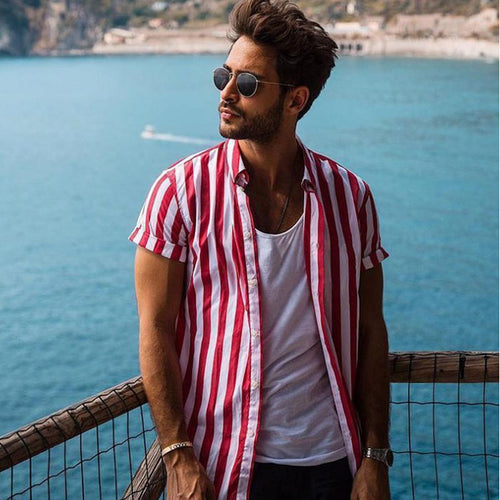 Stripe Printed Holiday Men Shirt
