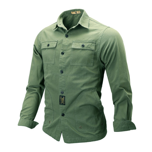 Tactical Long Sleeve Lapel Men's Shirt