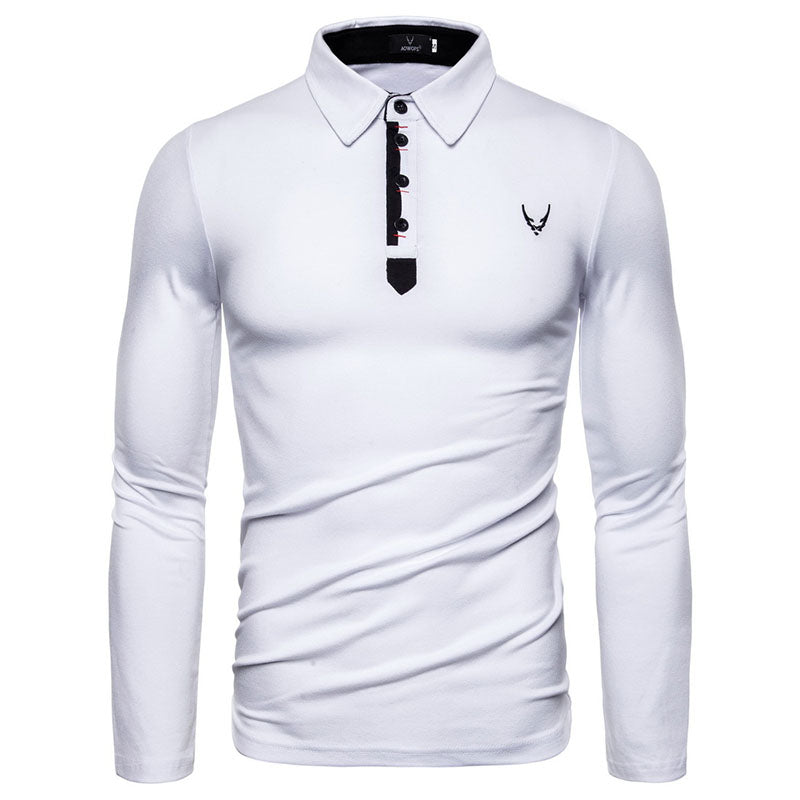 Embroidery Lapel Long Sleeve POLO Men's T-shirt