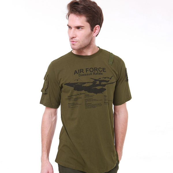 Tactical Aircraft Printed Round Neck Short Sleeve Men's T-shirt