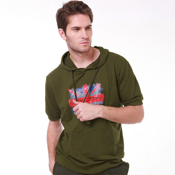 M-flag British Style Short Sleeve Hooded Men's Hoodie