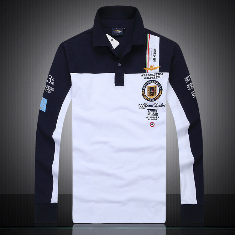 Air Force No.1 High Quality Splicing Lapel Long Sleeve Men's Polo T-shirt