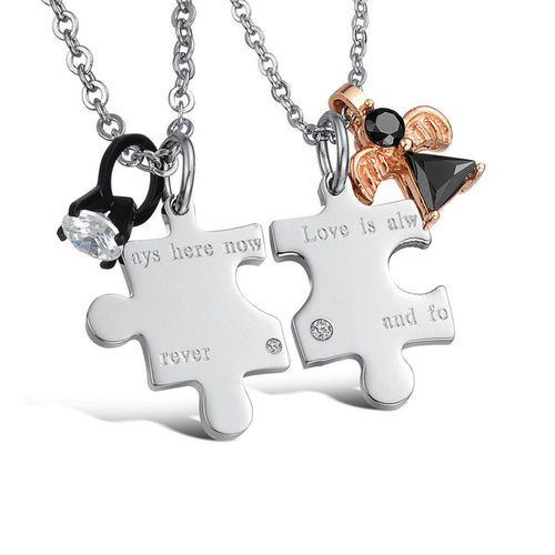 Love is Always Here Now and Forever Puzzle Couple Necklaces - KINGEOUS