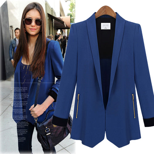 Fashion Slim Solid Color Zipper Split Joint Women's Blazer