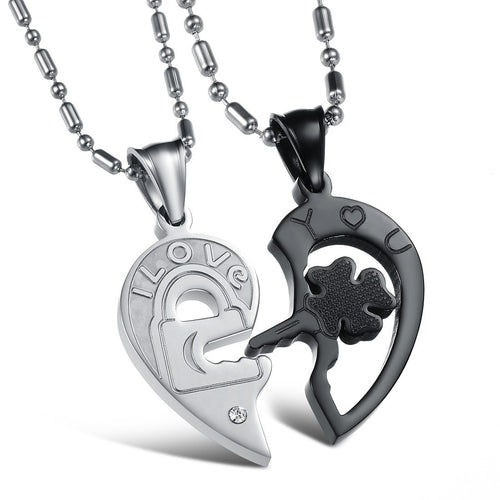 I Love You Lock and Key Heart Shape Couple Necklaces - KINGEOUS