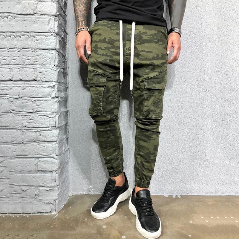 Fashion Green Camouflage Foot Zipper Men's Pants
