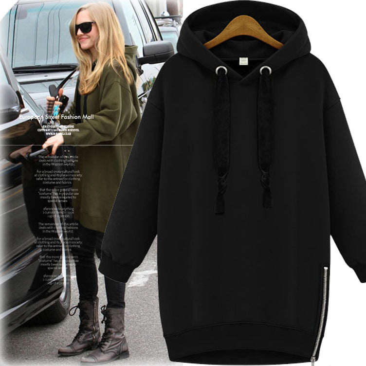 Casual Hoodied Solid Color Long Sleeve Zipper Women's Hoodie - KINGEOUS
