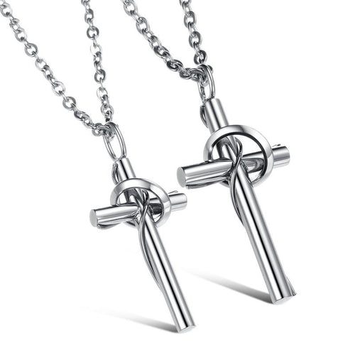 Simple Cross Shape Stainless Steel Couple Necklaces