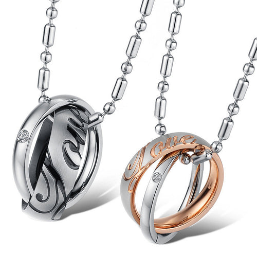 Love Stainless Steel Double Rings CZ Inlaid Couple Necklaces - KINGEOUS
