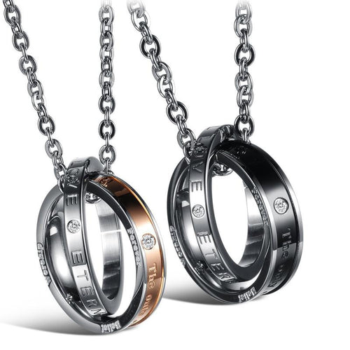 The Only Eternal Love Double Rings Couple Necklaces