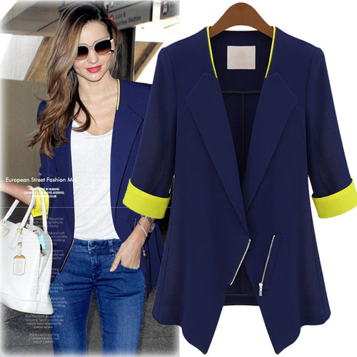 Most Popular Zipper Lapel Half Sleeve Women's Blazer