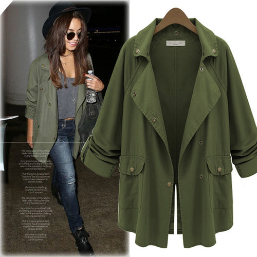 Turn-down Collar Loose Solid Color Women's Coat