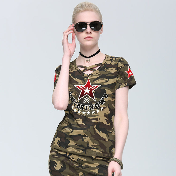 Cotton Round Neck Army Camo Women's T-shirts