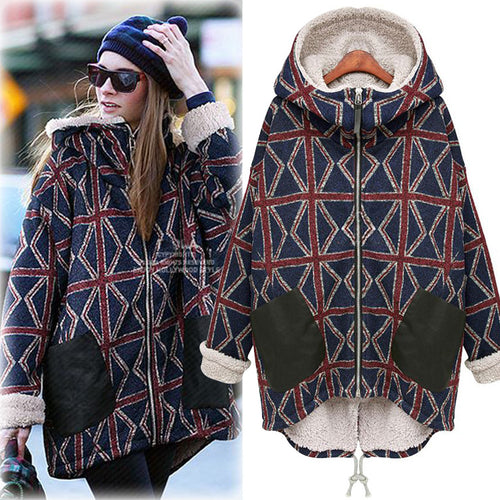 Fashion Loose Hoodie Woolen Thicken Women's Overcoat