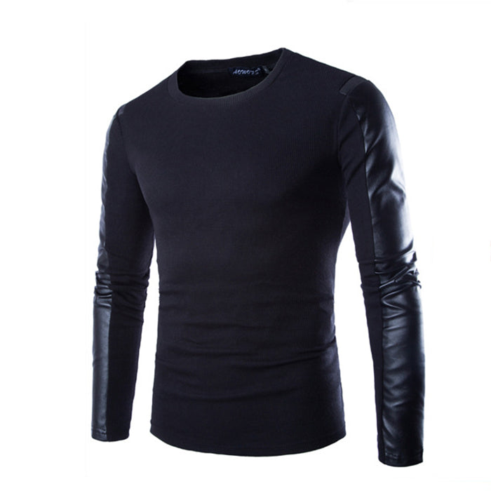 Round Neck PU Split Joint Long Sleeve Men's T-Shirt