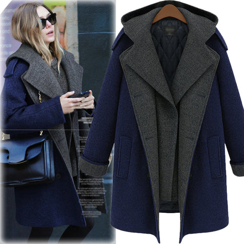 Fashion Thicken Split Joint Slim Plus Size Detachable Women's Overcoat