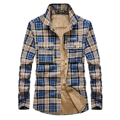 Outdoor Warm Cotton Plaid Long Sleeve Men's Shirt