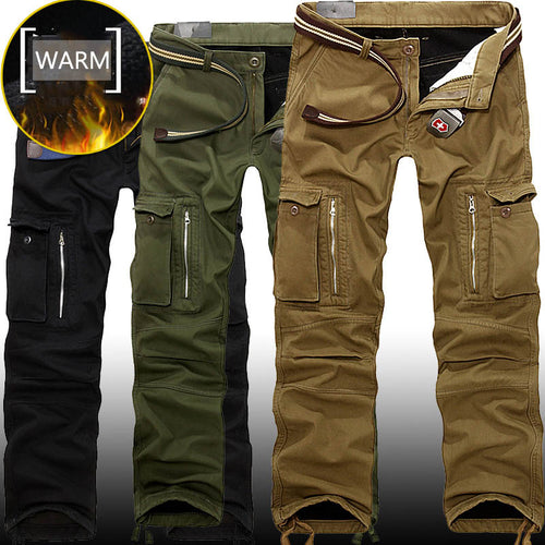 Casual Pockets Thicken Warm Winter Men's Cargo Pants - KINGEOUS
