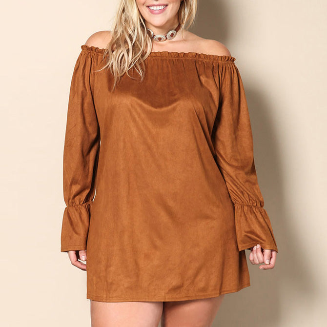 Fashion Loose Boat Neck Trumpet Sleeve Plus Size Short Dress