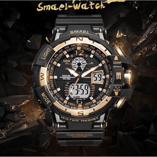 Double Display Cold Light Waterproof Hiking Men Wristwatch - KINGEOUS