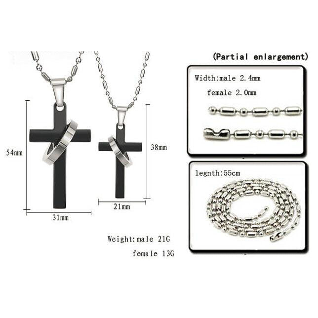 Cross Shape Titanium Steel Couple Necklaces - KINGEOUS