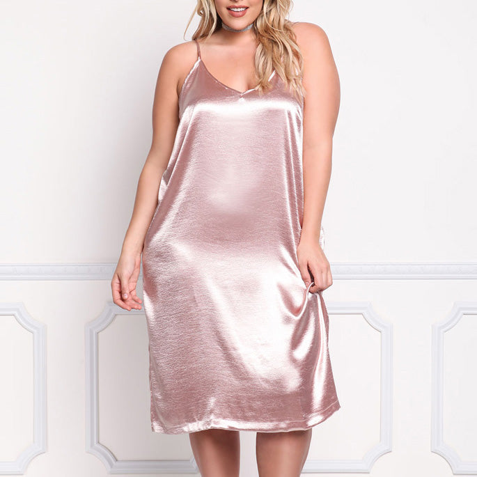 Stunning Solid Color Slim Plus Size Sundress for Women