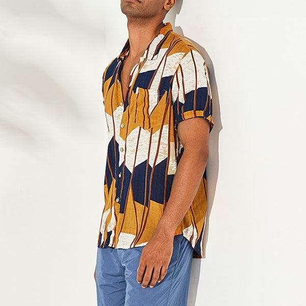 Casual Linen Printed Lapel Men's Shirt - KINGEOUS