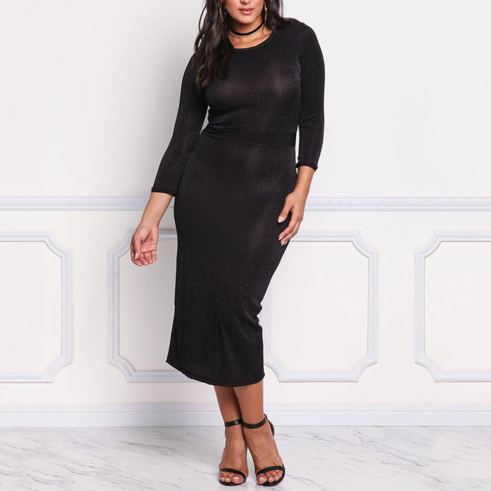 Sexy Round Neck Long Sleeve Knit Plus Size Long Dress