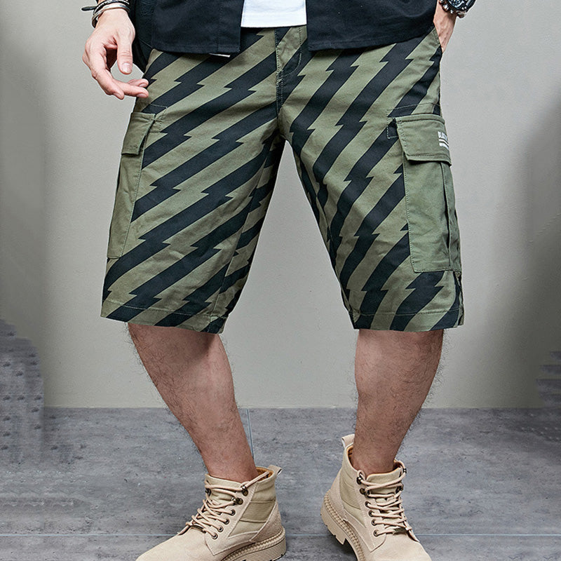 Trendy Striped Stitching Beach Men's Shorts