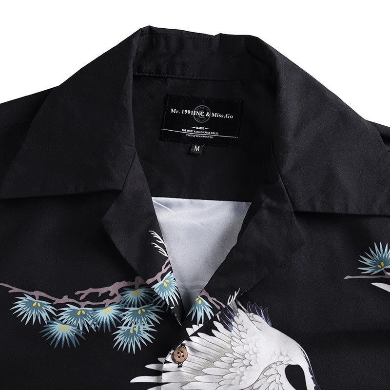 Loose Hawaiian Holiday Crane Print Edgy Beach-style Men Shirt