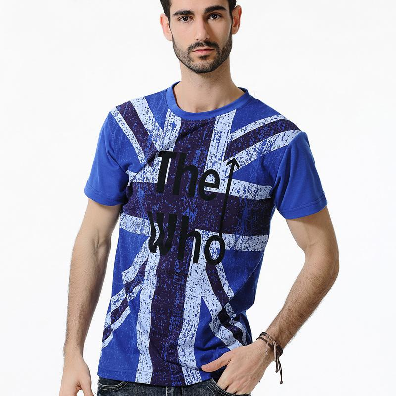 Retro Style Fashion Casual Printed Round Neck Men's T-shirt