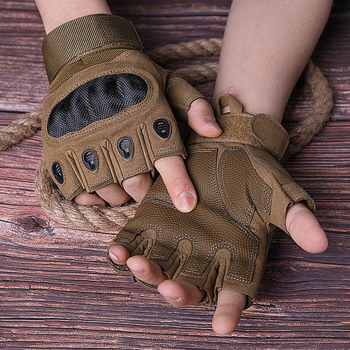Tactical Military Army carbon fiber Half Finger Men Gloves