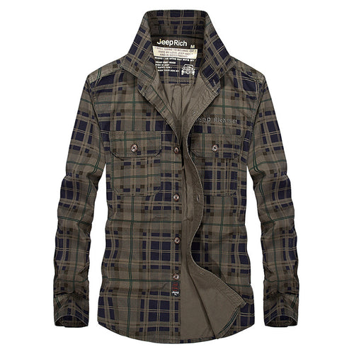 Casual Social Plaid Cotton Standing Collar Men's Shirt