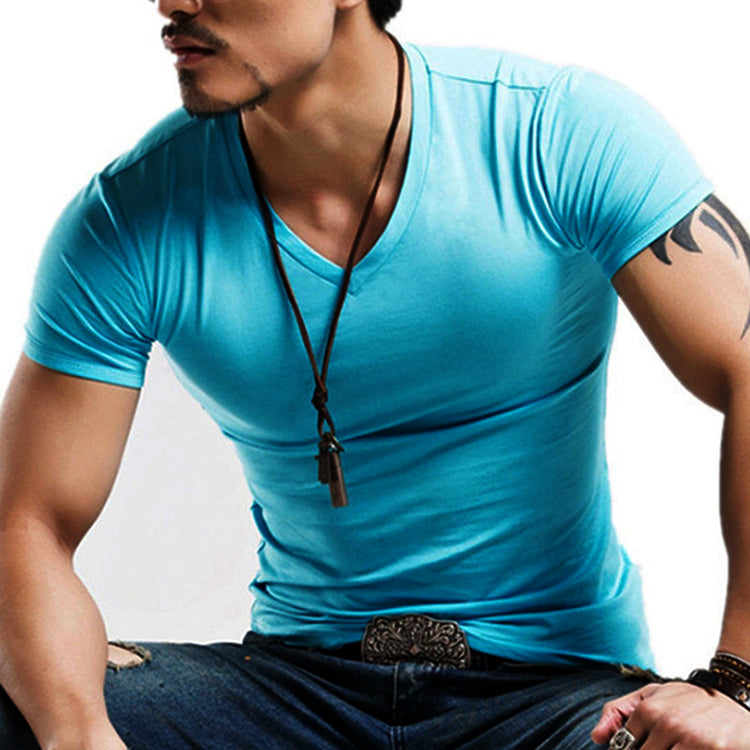 Simple V-neck Plus Size Solid Color Men's T-shirt