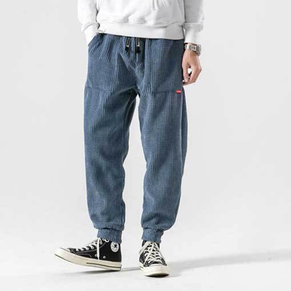 Mens Corduroy Pure Color Elastic Waist Casual Pants