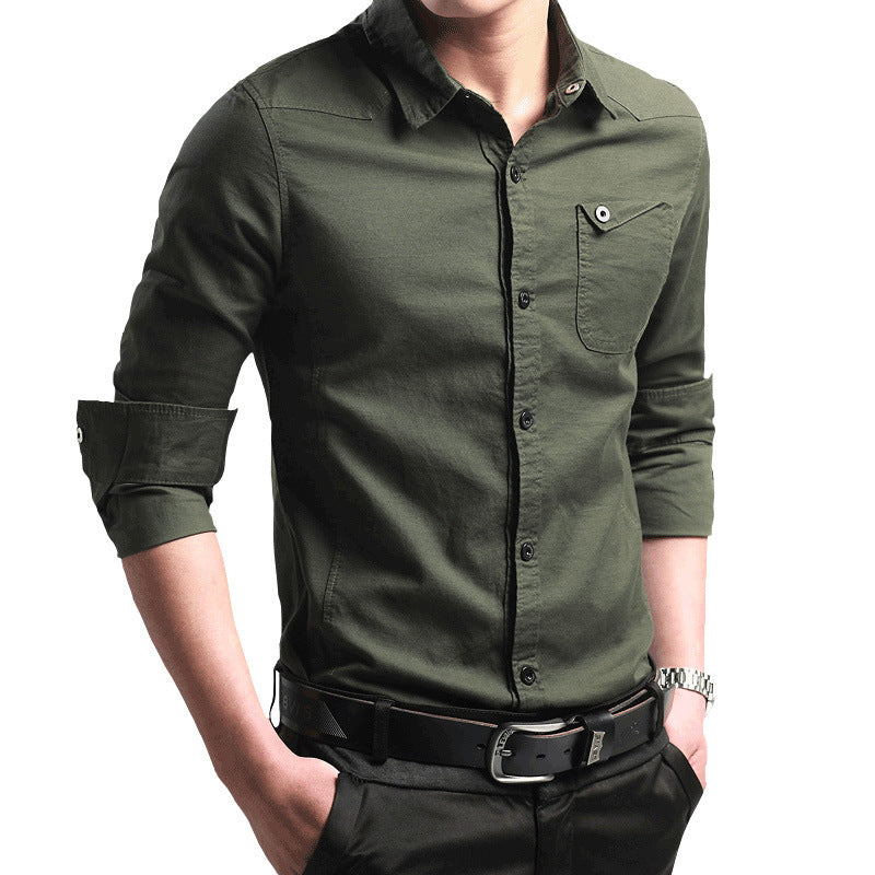 Solid Color Lapel Cotton Men's Shirt