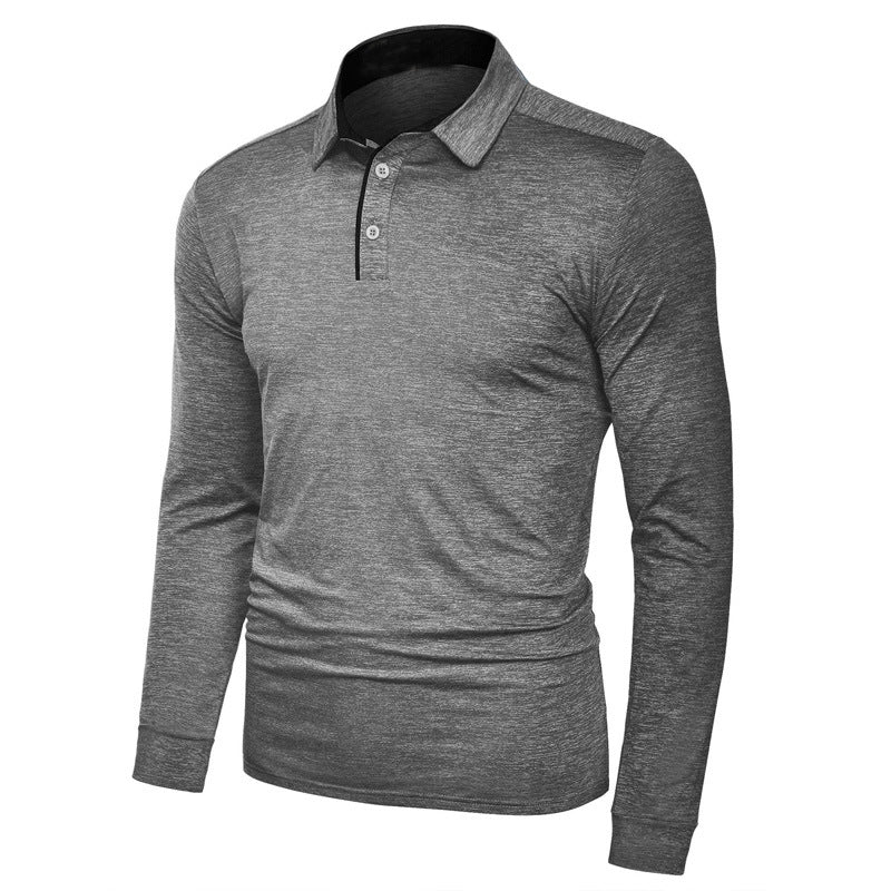 Lapel Quick-drying Split Joint Long Sleeve Men's T-shirt