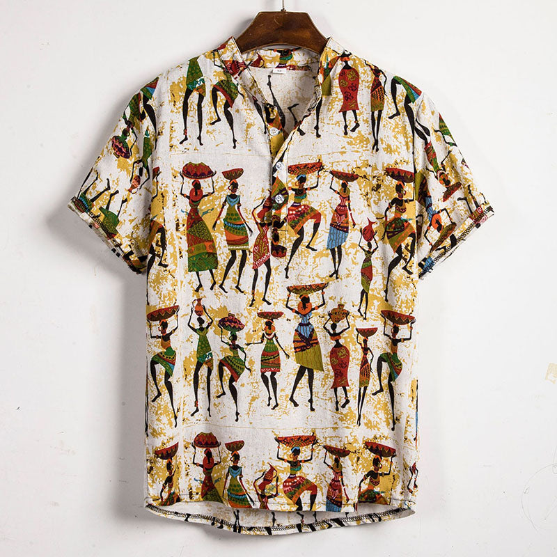 Retro Pattern Short Sleeve Men Shirt