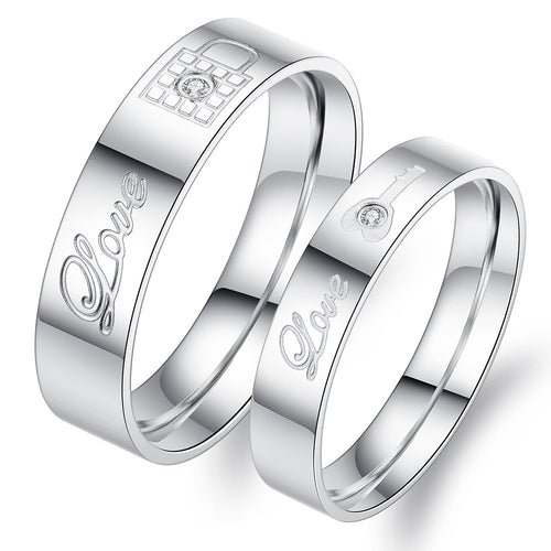 Love Lock Key CZ Inlaid Stainless Steel Couple Rings - KINGEOUS