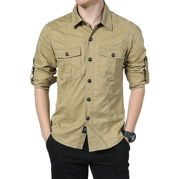 Fashion Lapel Military Style Loose Men's T-shirt