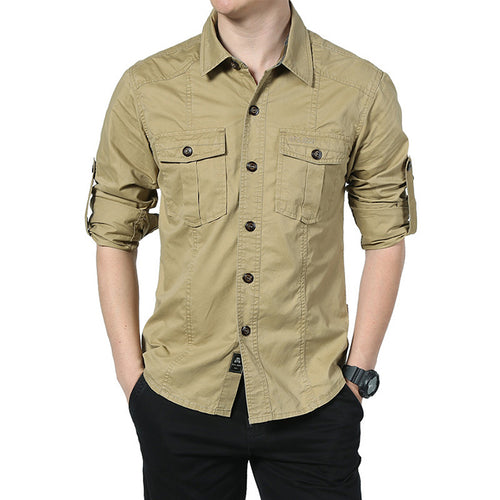Fashion Lapel Military Style Loose Men's T-shirt - KINGEOUS