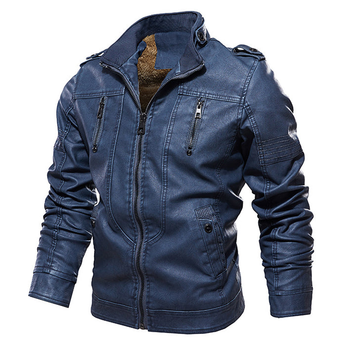Casual Retro Zipper Men's Leather Jacket